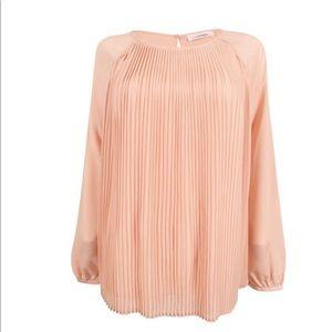 NWT Calvin Klein Blush Pink Pleated Blouse